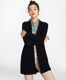 Cable-Knit Cashmere Duster Cardigan