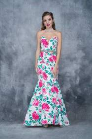 Nina Canacci - Floral Deep Sweetheart Mermaid Dres