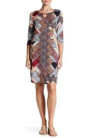 Nina Leonard - L5915A Printed Jewel Column Dress