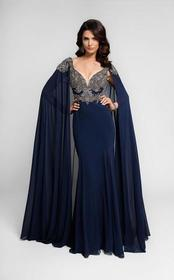 Terani Couture - Bejeweled V-Neck Chiffon Gown Wit