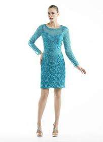 Sue Wong - Embroidered Illusion Scoop Neck Dress N
