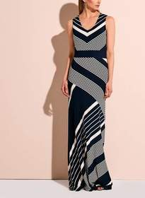 Linea Domani - 9731 Sleeveless Graphic Stripe Maxi