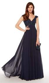 Alyce Paris - 27246 V-neck Empire Waist Chiffon A-