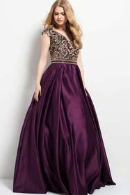 Jovani Embroidered V-Neck Cap Sleeves Ballgown 504
