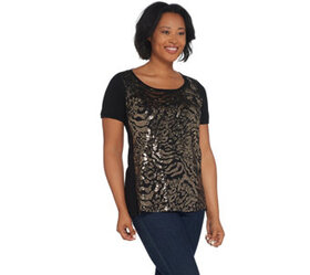 Bob Mackie Short-Sleeve Sequin Front Knit Top - A3