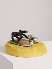 Leather Ankle Strap and House Check Espadrille San