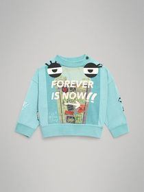Forever is Now Print Cotton Sweatshirt in Turquois