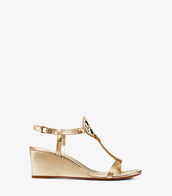 MILLER WEDGE SANDAL, METALLIC LEATHER