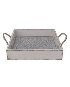 14 Inch Square Embossed Floral Metal and Wood Tray