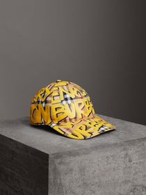 Graffiti Print Vintage Check Baseball Cap in Brigh