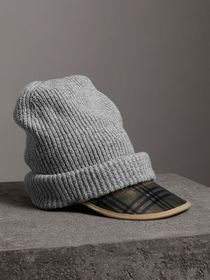 1983 Check Wool Cotton Peaked Beanie in Mid Grey M