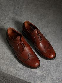 Leather Derby Brogues in Chestnut