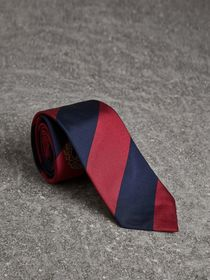 Modern Cut Archive Logo Striped Silk Tie in Navy