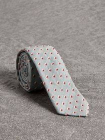 Slim Cut Chenille Dot Cotton Silk Tie in Sky Blue