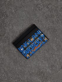 Graffiti Print Vintage Check Leather Card Case in