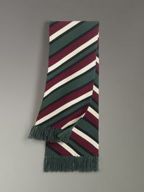 Tri-tone Striped Wool Cashmere Scarf in Olive