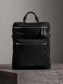 Zip-top Leather Trim Showerproof Backpack in Black