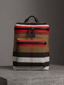 Zip-top Leather Trim Canvas Check Backpack in Mili