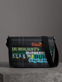 Large Logo Print Messenger Bag in Charcoal