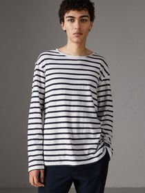 Breton Stripe Cotton Jersey Top in White/blue