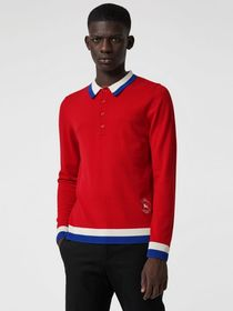 Stripe Detail Merino Wool Long-sleeve Polo Shirt i