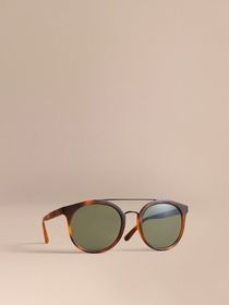 Top Bar Round Frame Sunglasses in Brown