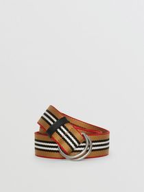 Icon Stripe Double D-ring Belt in Vintage Check