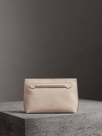 Grainy Leather Wristlet Clutch in Stone
