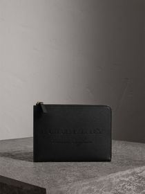 Embossed Leather Ziparound Pouch and Coin Case in