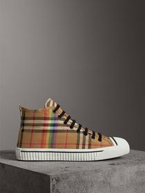 Rainbow Vintage Check High-top Sneakers in Antique