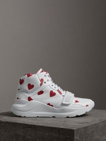 Heart Print Leather High-top Sneakers in Windsor R