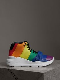 Rainbow Leather High-top Sneakers