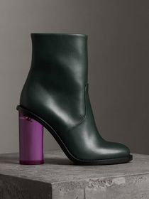 Two-tone Leather High Block-heel Boots in Dark For