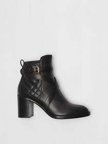 Strap Detail Quilted Leather Ankle Boots in Black