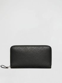 Perforated Leather Ziparound Wallet in Black