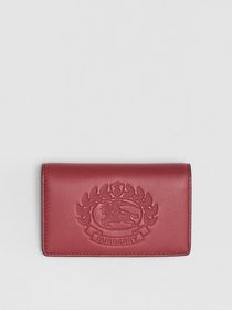 Small Embossed Crest Two-tone Leather Wallet in Cr