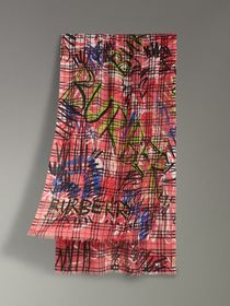 Graffiti Print Vintage Check Wool Silk Scarf in Bl
