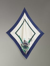 Scribble Archive Crest Silk Square Scarf in Bright