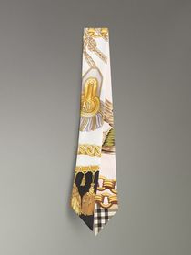 Archive Scarf Print Silk Skinny Scarf in Gold