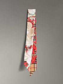 Graffiti Archive Scarf Print Silk Skinny Scarf in