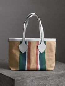 The Medium Giant Tote in Striped Jute in Chalk Whi
