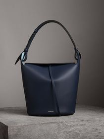 The Large Leather Bucket Bag in Mid Indigo