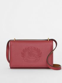 Embossed Crest Leather Wallet with Detachable Stra