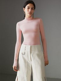Stretch Modal Silk Turtleneck Top in Light Pink