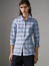 Check Cotton Shirt in Sky Blue