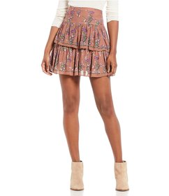 Chelsea & Violet Floral Print Jacquard Tiered Ruff