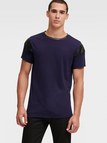 TEE WITH FAUX-LEATHER TRIM