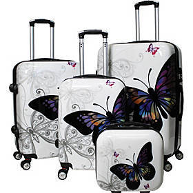 Butterfly 4-Piece Hardside TSA Lock Spinner Luggag