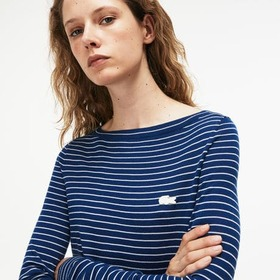 Women's Boat Neck Striped Wool Jersey Sweater