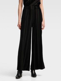 STRIPED VELOUR WIDE-LEG PANT